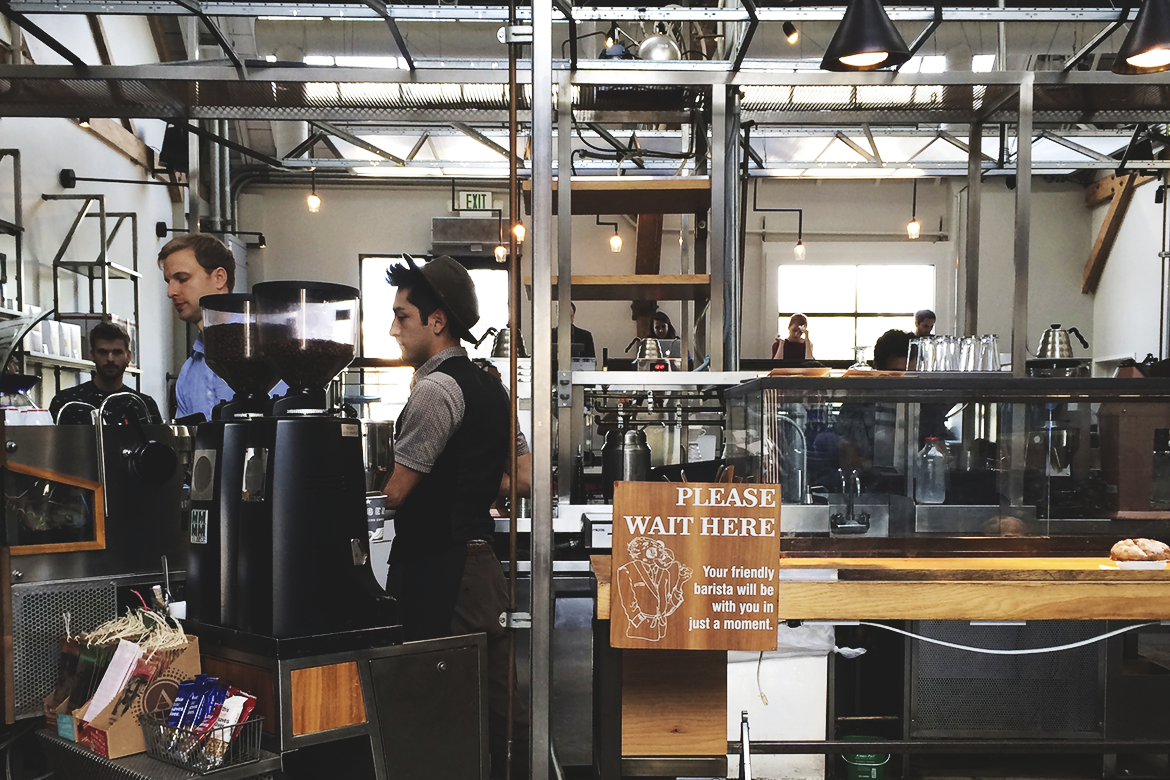 intelligentsia abbot kinney, venice | barista brewing area of coffee shop