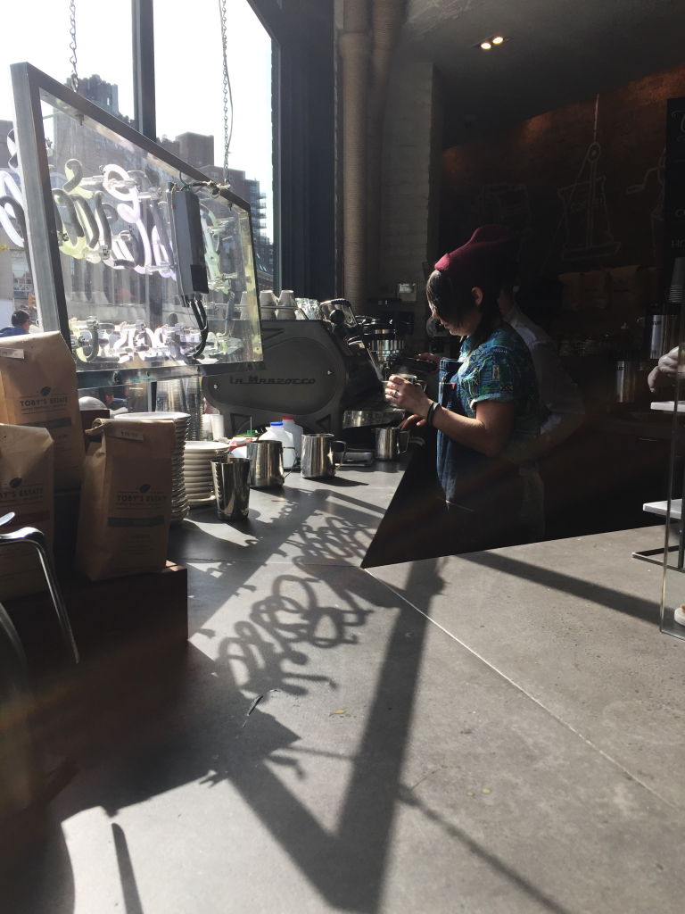 toby's estate coffee, west village - coffee bar reflection
